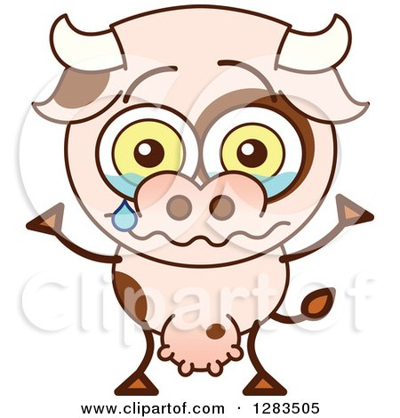 Clipart of a Sad Cartoon Cow Crying - Royalty Free Vector Illustration by Zooco