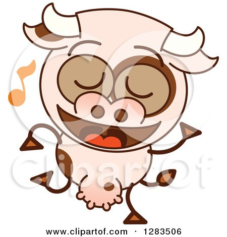 Clipart of a Cartoon Cow Dancing to Music - Royalty Free Vector Illustration by Zooco