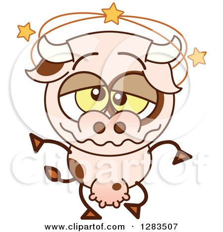 Clipart of a Dizzy Cartoon Cow - Royalty Free Vector Illustration by Zooco