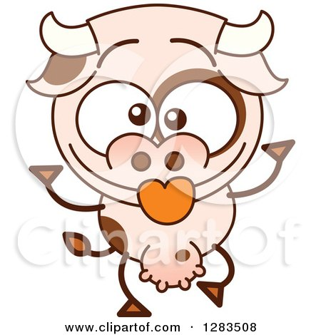 Clipart of a Cartoon Cow Making Funny Faces - Royalty Free Vector Illustration by Zooco