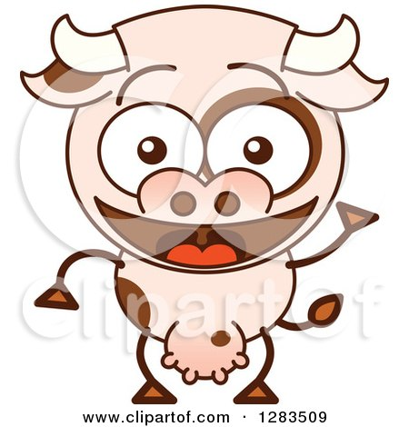 3d Dairy Cow Character With Its Pink Nose Facing The