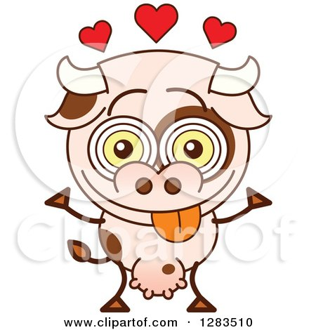 Clipart of a Cartoon Cow in Love, with Hearts - Royalty Free Vector Illustration by Zooco