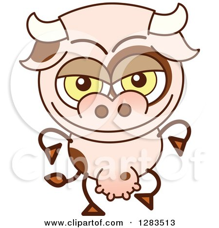 Clipart of a Naughty Cartoon Cow - Royalty Free Vector Illustration by Zooco