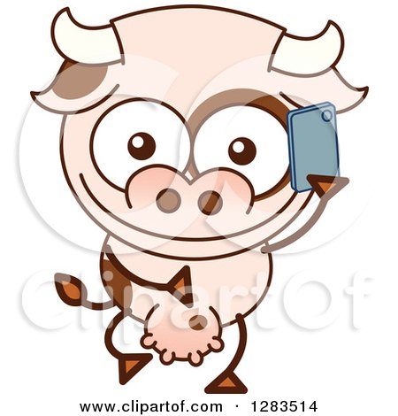 Clipart of a Cartoon Cow Talking on a Cell Phone - Royalty Free Vector Illustration by Zooco