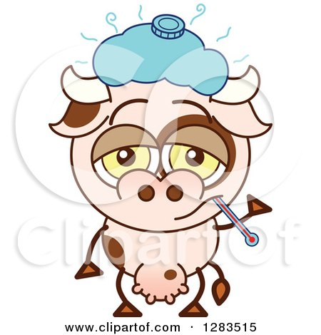 Clipart of a Sick Cartoon Cow with an Ice Pack and Thermometer - Royalty Free Vector Illustration by Zooco
