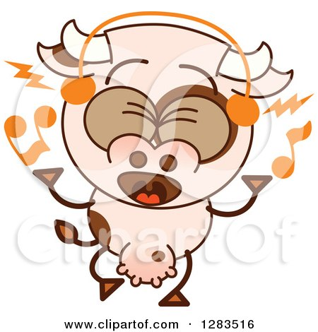 Clipart of a Cartoon Cow Singing and Wearing Music Headphones - Royalty Free Vector Illustration by Zooco