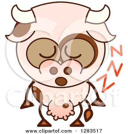 Clipart of a Cartoon Cow Sleeping Upright - Royalty Free Vector Illustration by Zooco