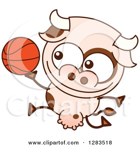 Clipart of a Cartoon Cow Playing Basketball - Royalty Free Vector Illustration by Zooco