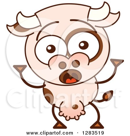 Clipart of a Surprised Cartoon Cow - Royalty Free Vector Illustration by Zooco