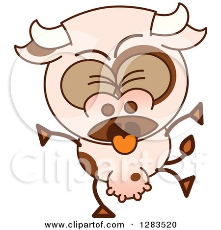 Clipart of a Vomiting Cartoon Cow - Royalty Free Vector Illustration by Zooco