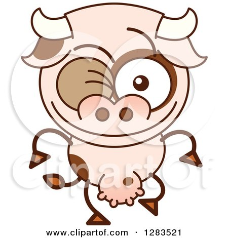 Clipart of a Winking Cartoon Cow - Royalty Free Vector Illustration by Zooco