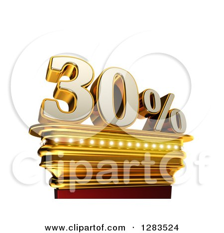 Clipart of a 3d Thirty Percent Discount on a Gold Pedestal over White - Royalty Free Illustration by stockillustrations