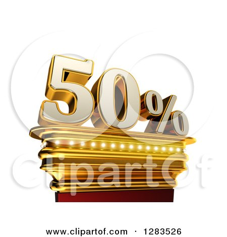 Clipart of a 3d Fifty Percent Discount on a Gold Pedestal over White - Royalty Free Illustration by stockillustrations
