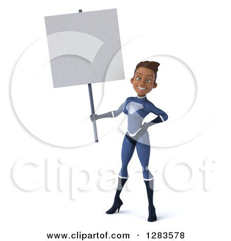Clipart of a 3d Young Black Female Super Hero in a Blue Suit, Holding a Blank Sign - Royalty Free Vector Illustration by Julos