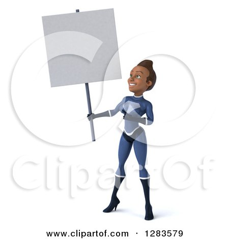 Clipart of a 3d Young Black Female Super Hero in a Blue Suit, Holding and Pointing at a Blank Sign - Royalty Free Vector Illustration by Julos