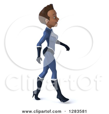 Clipart of a 3d Young Black Female Super Hero in a Blue Suit, Walking to the Right - Royalty Free Vector Illustration by Julos