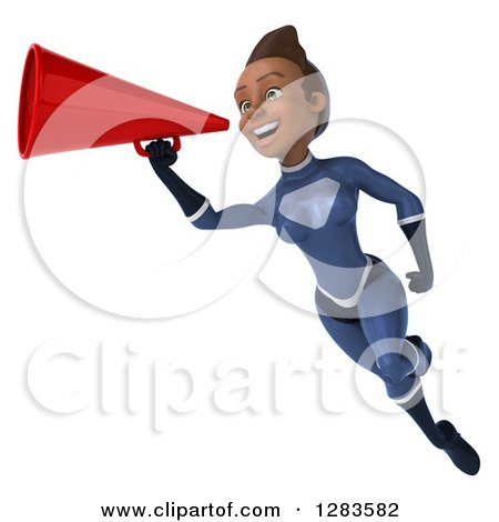 Clipart of a 3d Young Black Female Super Hero in a Blue Suit, Flying and Announcing with a Megaphone - Royalty Free Vector Illustration by Julos