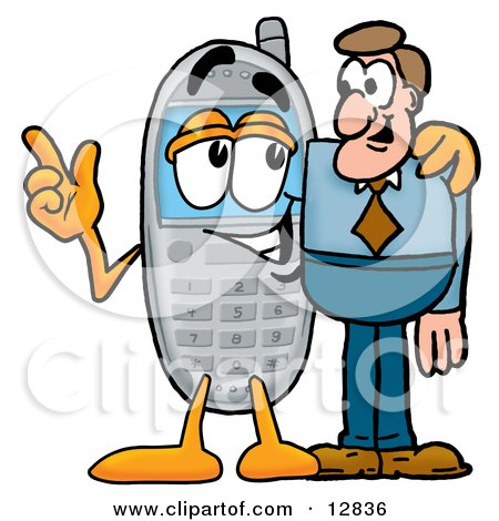 Clipart Picture of a Wireless Cellular Telephone Mascot Cartoon Character Talking to a Business Man by Toons4Biz