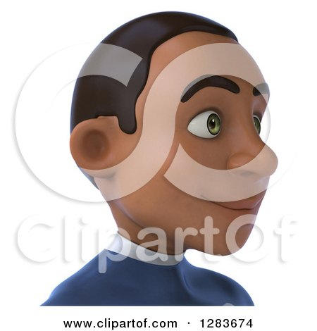 Clipart of a 3d Young Black Male Super Hero in a Blue Suit, from the Shoulders Up, Facing Right - Royalty Free Vector Illustration by Julos