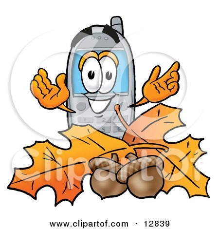 Clipart Picture of a Wireless Cellular Telephone Mascot Cartoon Character With Autumn Leaves and Acorns in the Fall by Toons4Biz