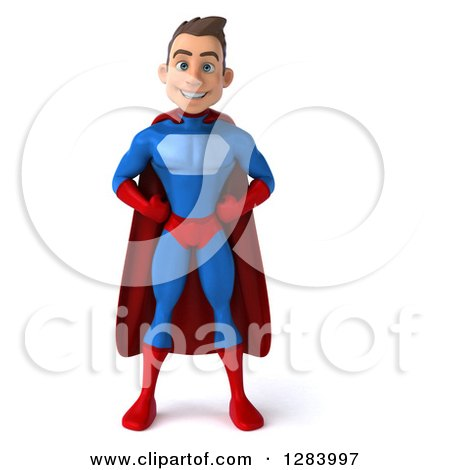 Clipart of a 3d Young Brunette White Male Super Hero in a Blue and Red Suit, with Hands on His Hips - Royalty Free Vector Illustration by Julos