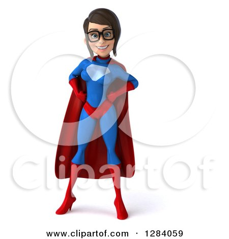 Clipart of a 3d Young Bespectacled Brunette White Female Super Hero in a Blue and Red Suit, with Hands on Her Hips - Royalty Free Vector Illustration by Julos