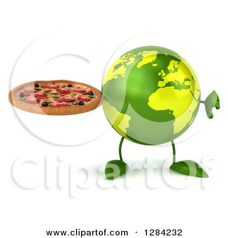 Clipart of a 3d Green Earth Character Holding a Thumb down and a Pizza - Royalty Free Illustration by Julos