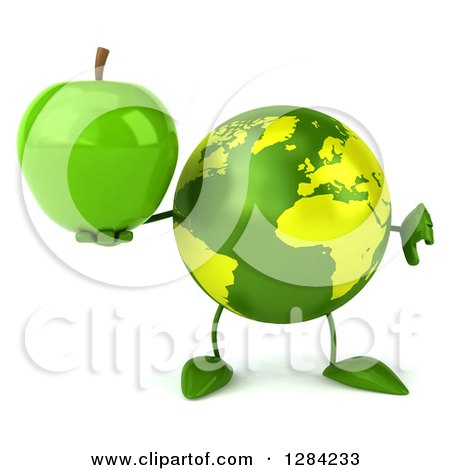 Clipart of a 3d Green Earth Character Holding a Green Apple and Thumb down - Royalty Free Illustration by Julos
