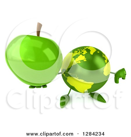 Clipart of a 3d Green Earth Character Holding up a Green Apple and Thumb down - Royalty Free Illustration by Julos