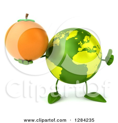 Clipart of a 3d Green Earth Character Holding a Thumb up and Orange - Royalty Free Illustration by Julos