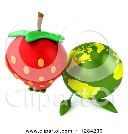 Clipart of a 3d Green Earth Character Holding up a Strawberry - Royalty Free Illustration by Julos
