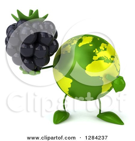 Clipart of a 3d Green Earth Character Holding and Pointing to a Blackberry - Royalty Free Illustration by Julos