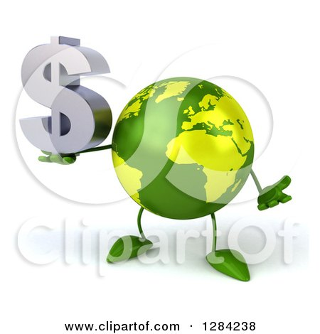 Clipart of a 3d Green Earth Character Shrugging and Holding a Dollar Currency Symbol - Royalty Free Illustration by Julos