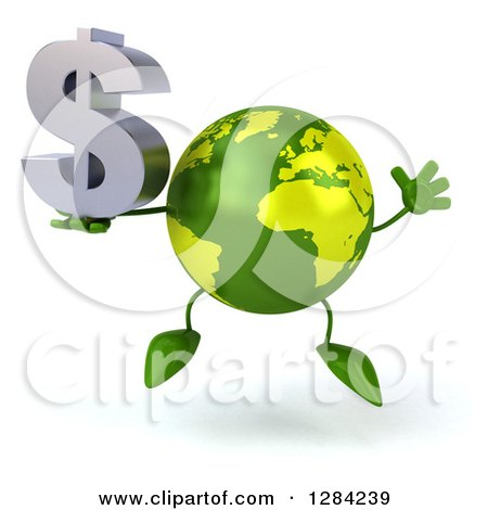 Clipart of a 3d Green Earth Character Jumping and Holding a Dollar Currency Symbol - Royalty Free Illustration by Julos