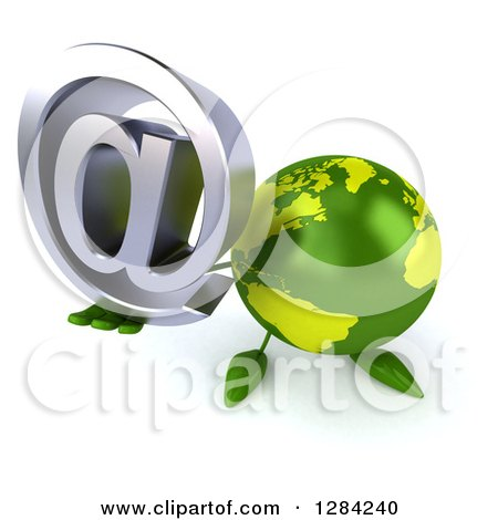 Clipart of a 3d Green Earth Character Holding up an Email Arobase at Symbol - Royalty Free Illustration by Julos