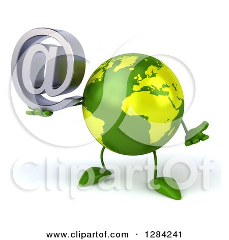 Clipart of a 3d Green Earth Character Shrugging and Holding an Email Arobase at Symbol - Royalty Free Illustration by Julos