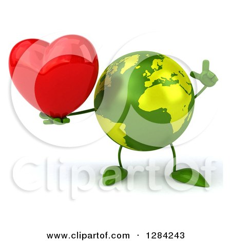 Clipart of a 3d Green Earth Character Holding a Heart and a Finger up - Royalty Free Illustration by Julos