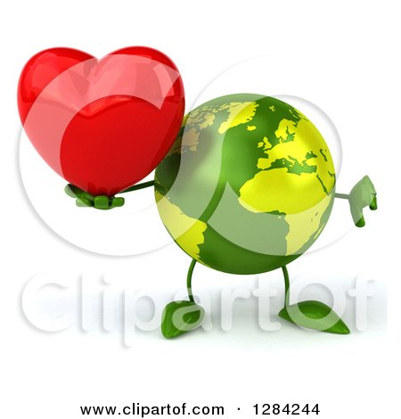 Clipart of a 3d Green Earth Character Holding a Heart and Thumb down - Royalty Free Illustration by Julos