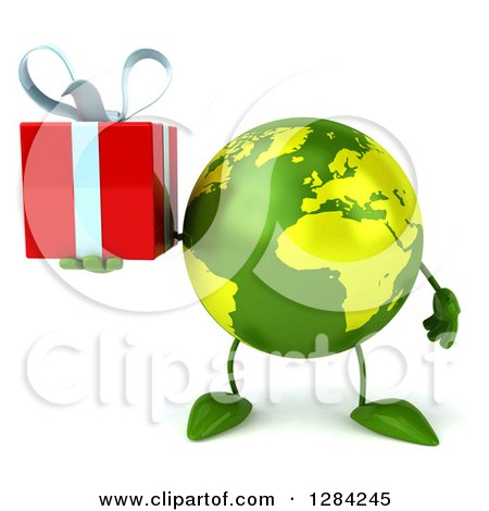 Clipart of a 3d Green Earth Character Holding a Gift - Royalty Free Illustration by Julos