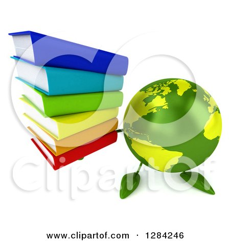 Clipart of a 3d Green Earth Character Holding up a Stack of Books - Royalty Free Illustration by Julos