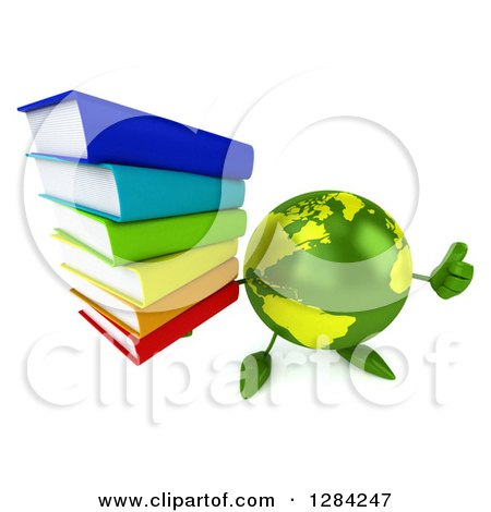 Clipart of a 3d Green Earth Character Holding up a Thumb and a Stack of Books - Royalty Free Illustration by Julos