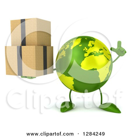 Clipart of a 3d Green Earth Character Holding up a Finger and Boxes - Royalty Free Illustration by Julos