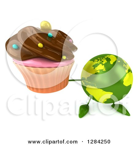 Clipart of a 3d Green Earth Character Holding up a Chocolate Frosted Cupcake - Royalty Free Illustration by Julos