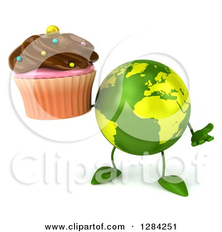 Clipart of a 3d Green Earth Character Shrugging and Holding a Chocolate Frosted Cupcake - Royalty Free Illustration by Julos
