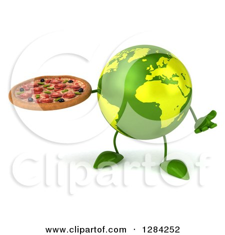 Clipart of a 3d Green Earth Character Shrugging and Holding a Pizza - Royalty Free Illustration by Julos