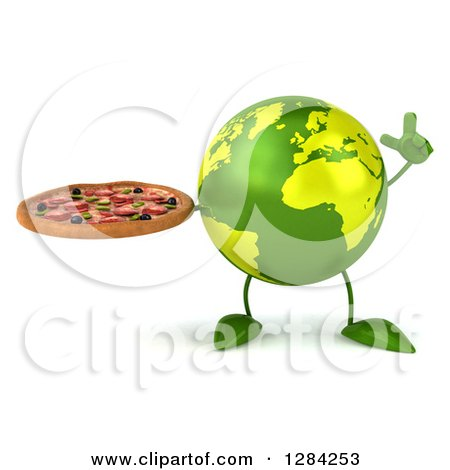 Clipart of a 3d Green Earth Character Holding up a Finger and a Pizza - Royalty Free Illustration by Julos