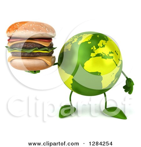 Clipart of a 3d Green Earth Character Holding a Double Cheeseburger - Royalty Free Illustration by Julos