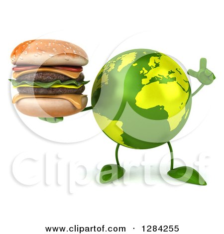 Clipart of a 3d Green Earth Character Holding up a Finger and a Double Cheeseburger - Royalty Free Illustration by Julos
