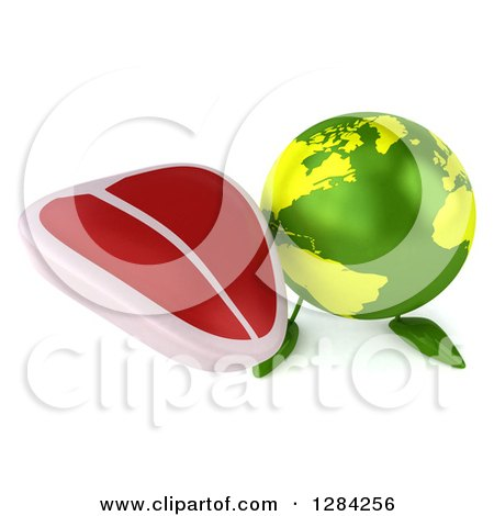 Clipart of a 3d Green Earth Character Holding up a Beef Steak - Royalty Free Illustration by Julos