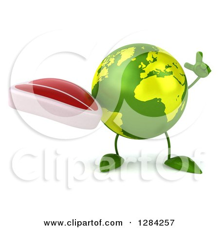 Clipart of a 3d Green Earth Character Holding up a Finger and a Beef Steak - Royalty Free Illustration by Julos
